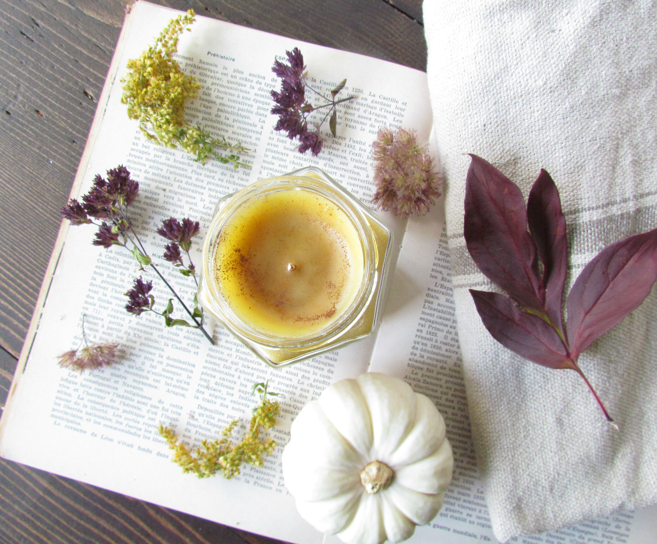 Comforting Autumn spice sheep milk beeswax candle