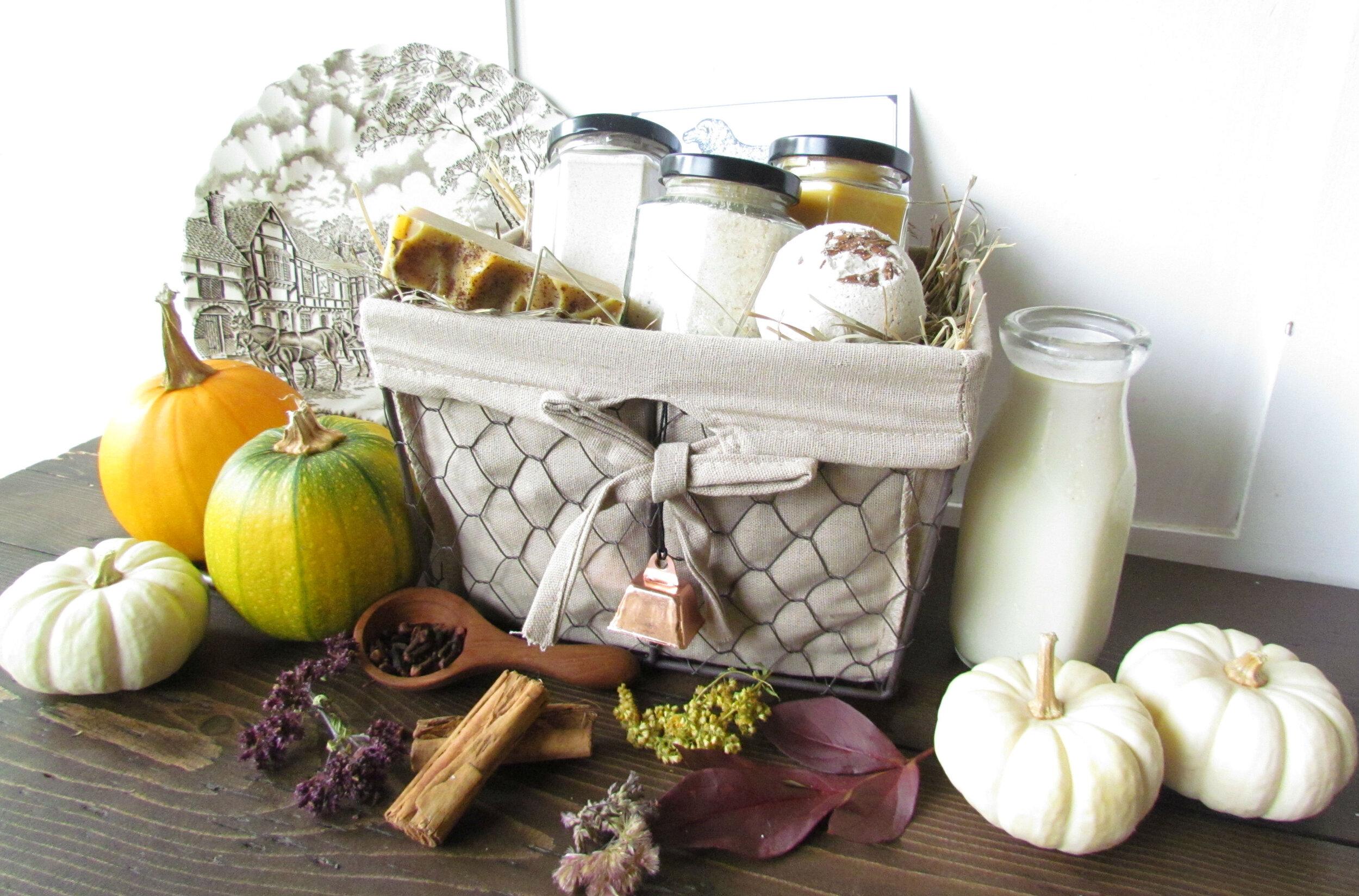 Comforting Autumn spice sheep milk gift basket