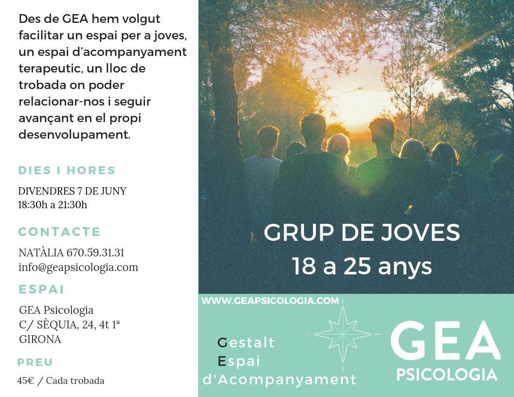 Grup de joves de 18 a 25 anys a girona - propostes grupals de GEA Psicologia.