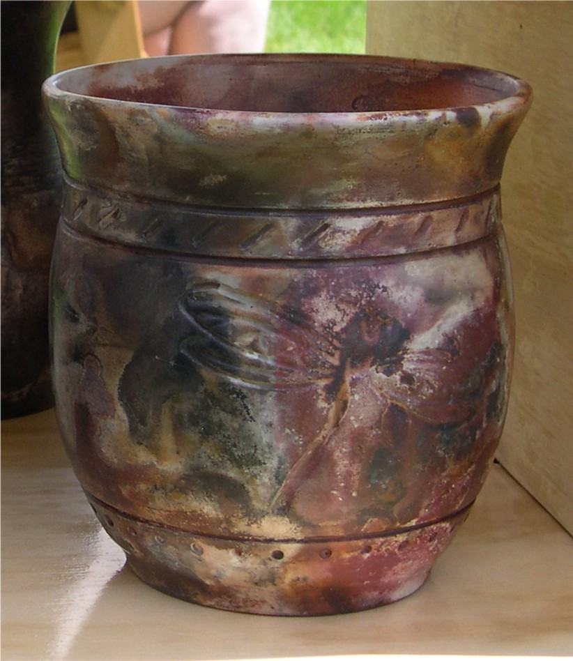 Pit fired dragonfly pot.jpg