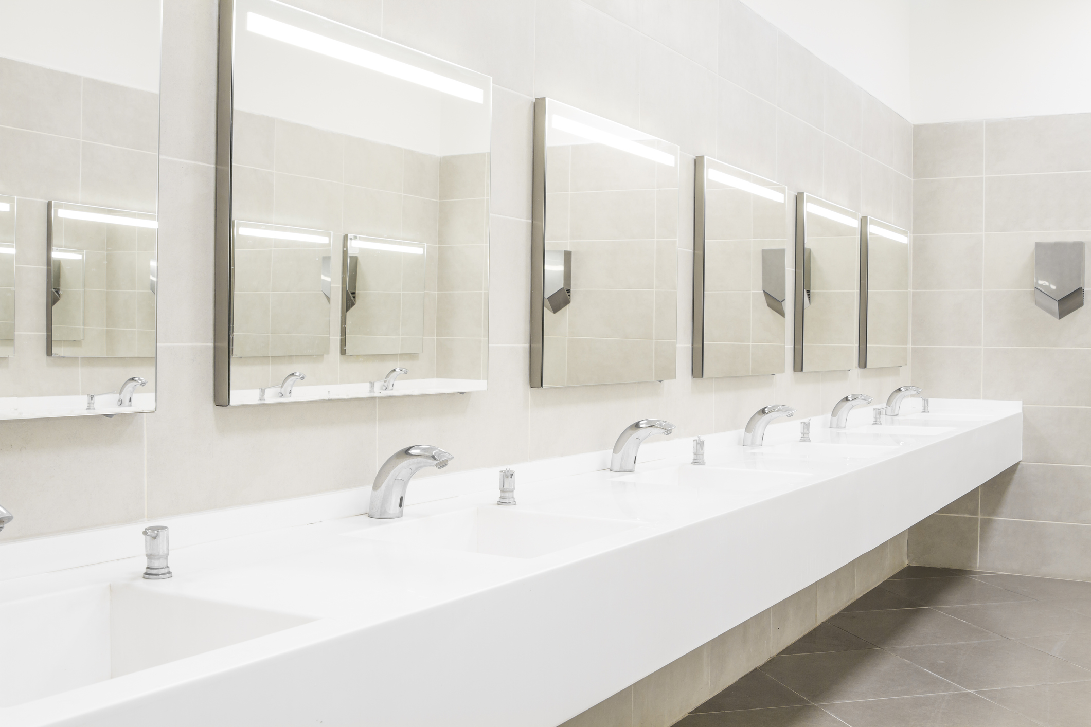 Restrooms Areas: - Clean and Disinfect Sinks, Toilets, and UrinalsClean and Polish Dispensers, Fixtures, and MirrorsEmpty Trash and Replace LinersSweep and Mop All Hard Floor AreasRestock Paper and Soap Products