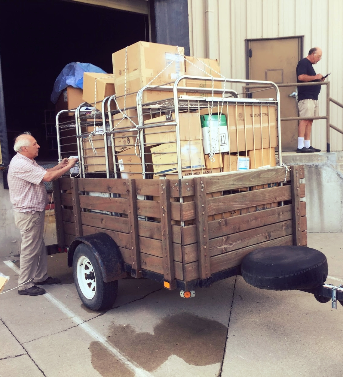 Loading equipment to ship to PAACS alumni.