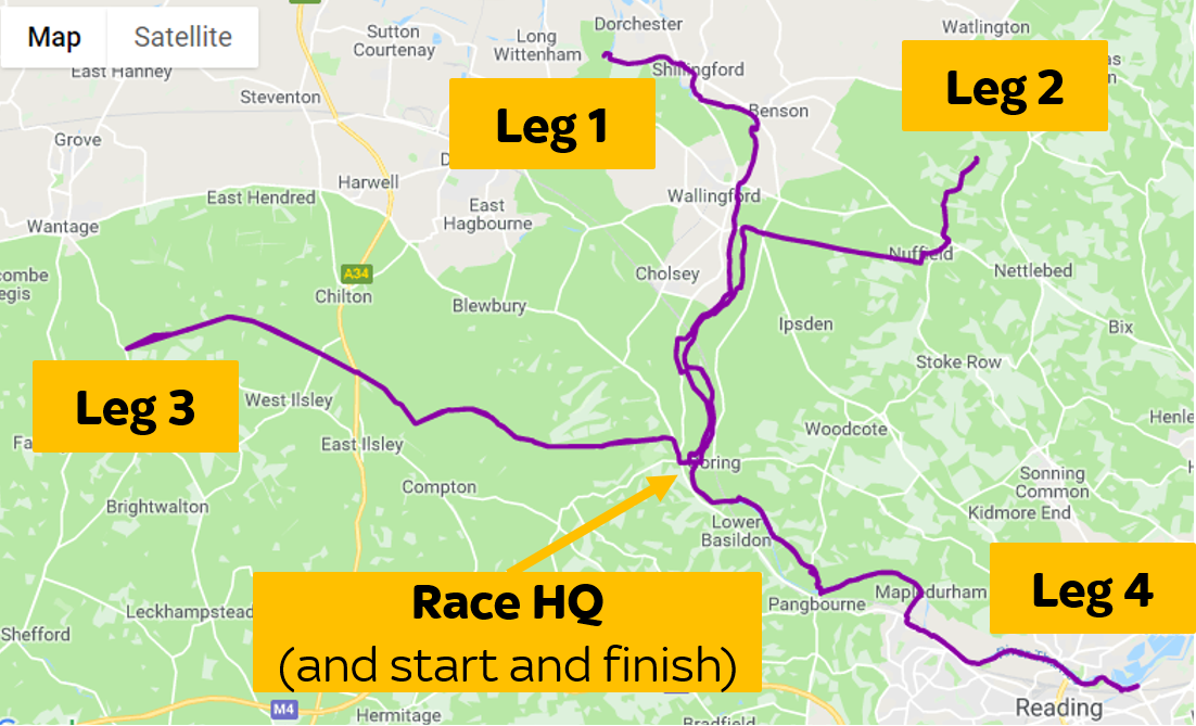 The Autumn 100 starts and ends in Goring. And is made up of four out-and-back 25 mile sections