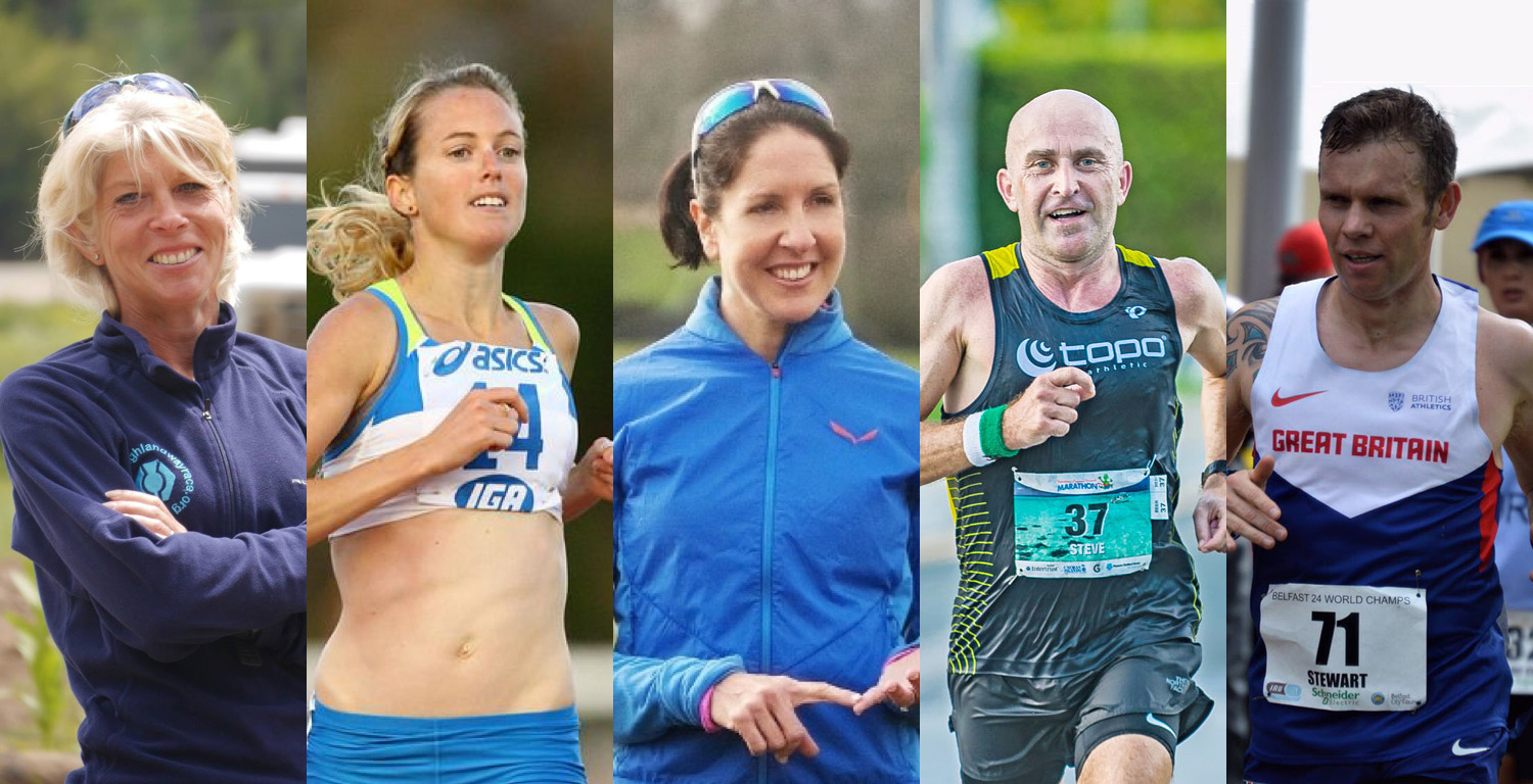 From left to right, the elite athletes are Mimi Anderson, Lisa Corrigan, Evie Serventi, Steve Speirs and James Stewart