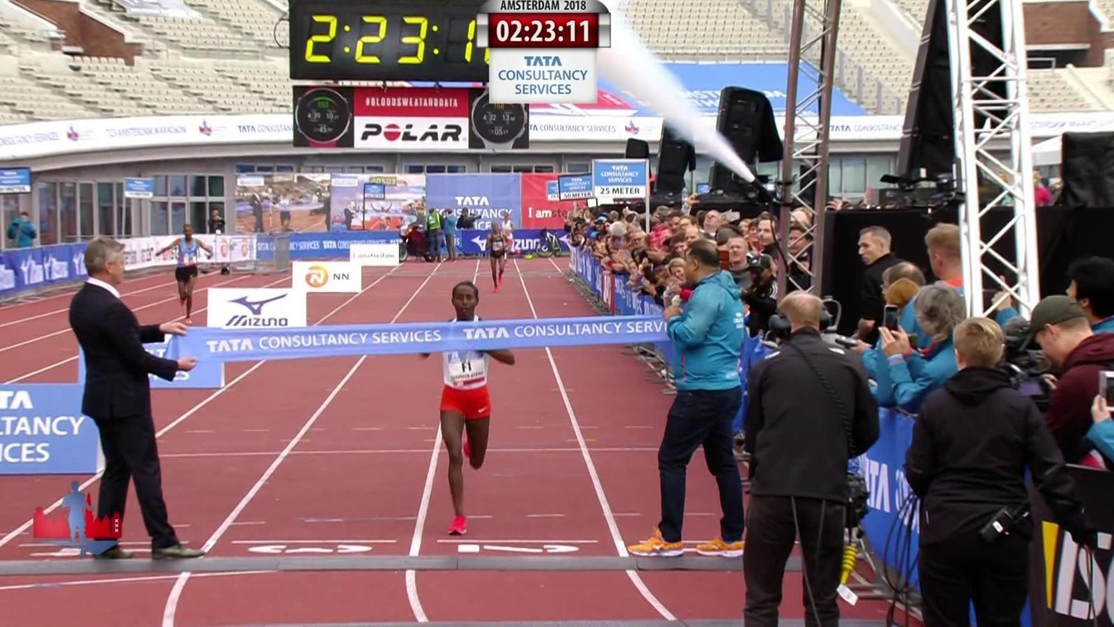 Tadelech Bekele won the women's Amsterdam marathon in in 2018. Like the men's champion, she also won in 2017