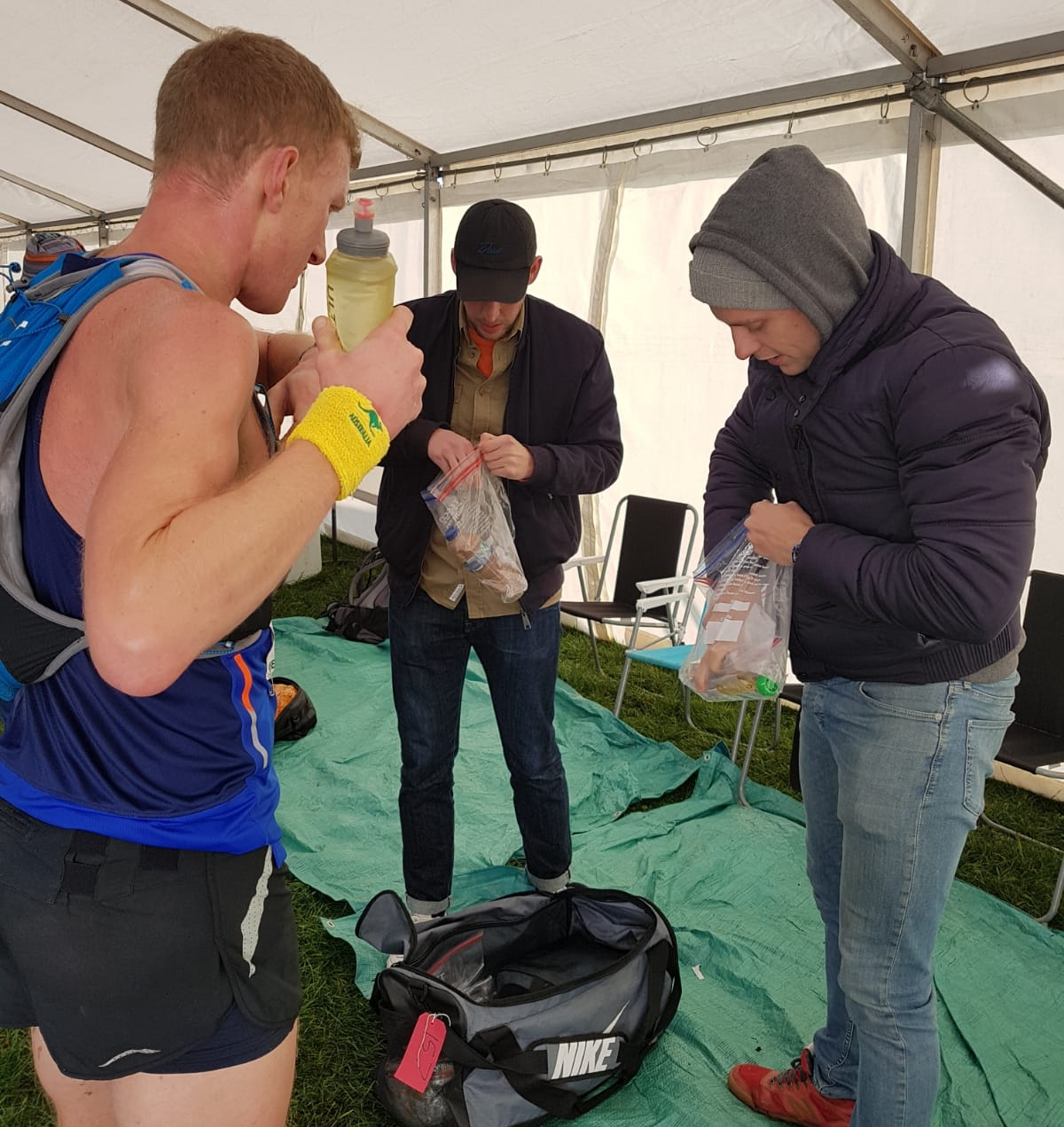 Ben (centre) and Jack (right) were fantastic crew members during the Wendover Woods 50 mile race.