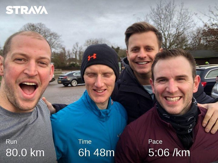 I was extremely lucky to have my  mates support me during back-to-back 80k training runs  round Richmond Park. From left to right -  Ben Cooper , me,  Jack Donaldson  and  Jamie Riddett . It was great practice for LEJOG where they will be supporting me for 9 days! And I was so amazed by their commitment that I couldn't even keep my eyes open!