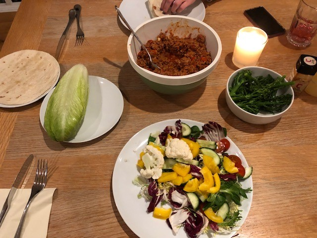 Catherine brought out an all-American dish - Sloppy Joes - with a low carb twist for me by using romaine lettuce instead of wraps