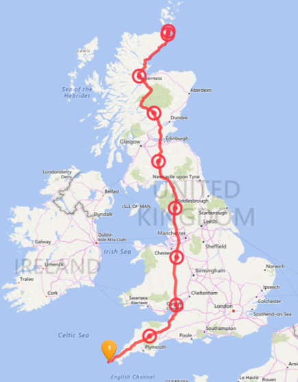 This was my proposed route, including daily stops (the red dots) on my world record attempt to run from Land's End to John o' Groats