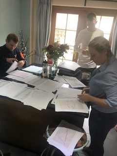 My team were responsible for a huge amount during my attempt. Here they are organising some of the paperwork for the route