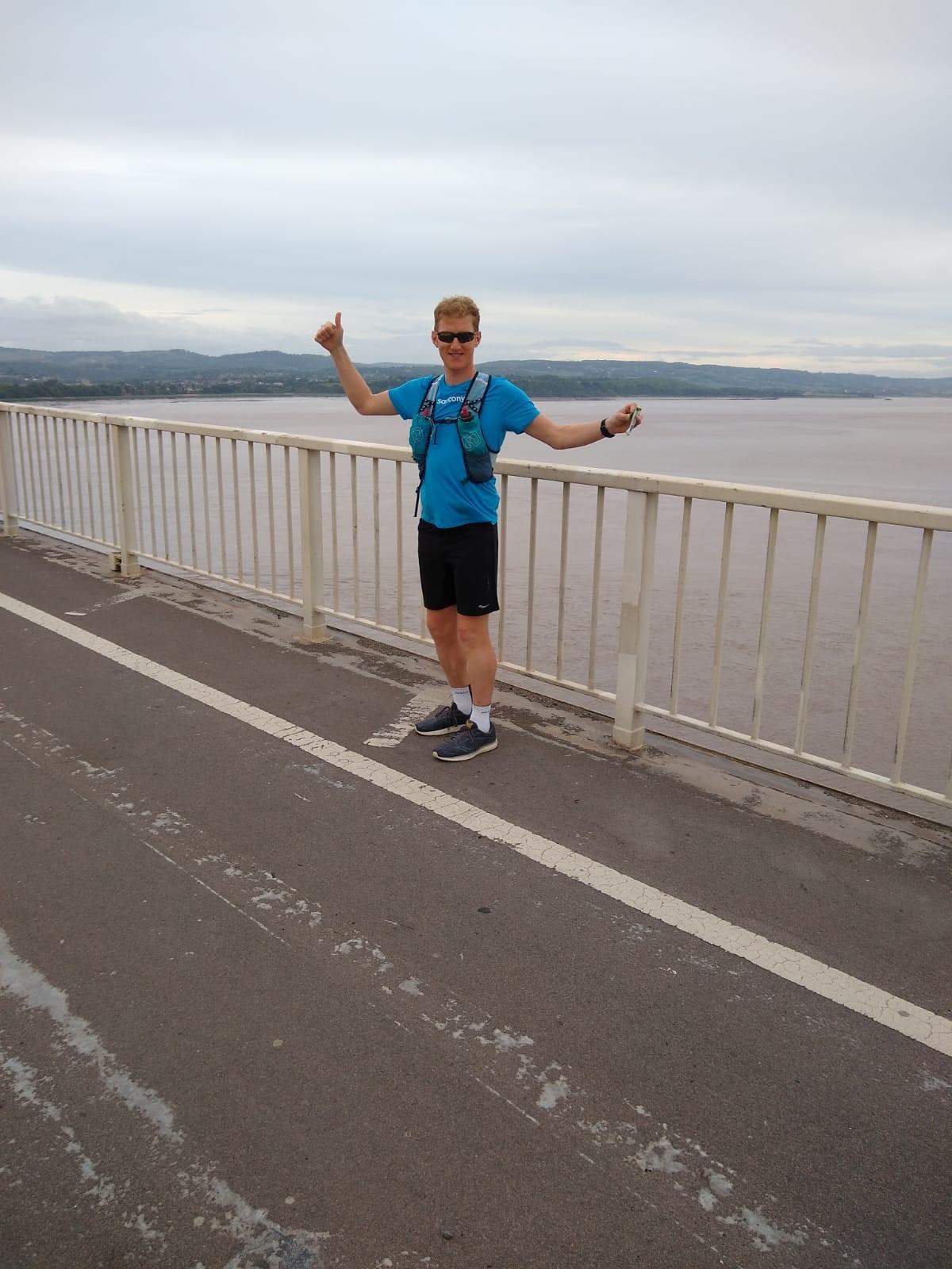 James Williams on the Severn Bridge as Part of LEJOG World Record Attempt (for JamesRunsFar.com).jpg