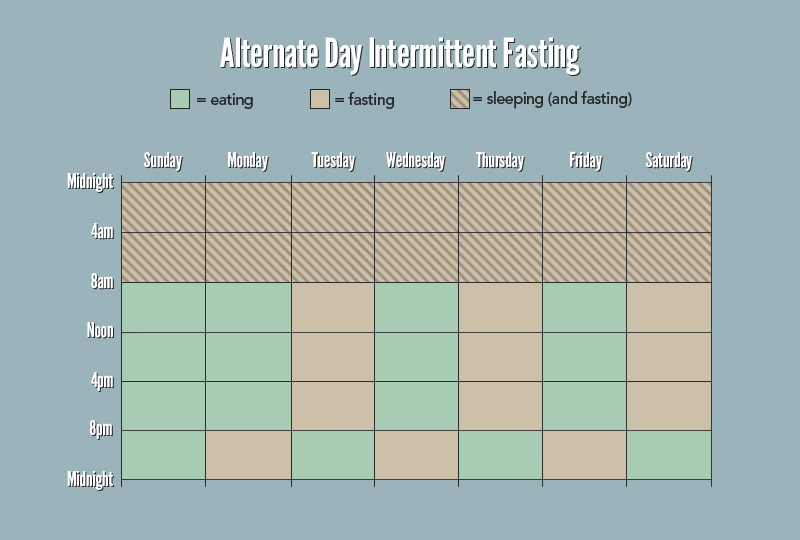 James Clear outlines how a week might look if you did alternative days of 24 hour periods of fasting