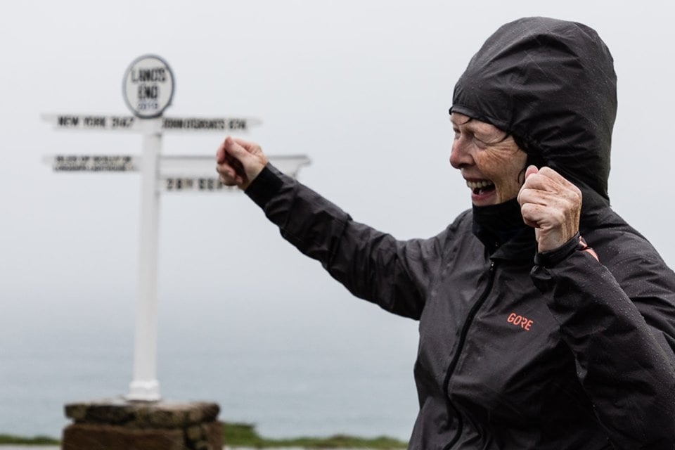 Angela celebrating her magnificent run from John o' Groats to Land's End - More than 800 miles in 18 days. Photo: Eddie Winthorpe, LRPS