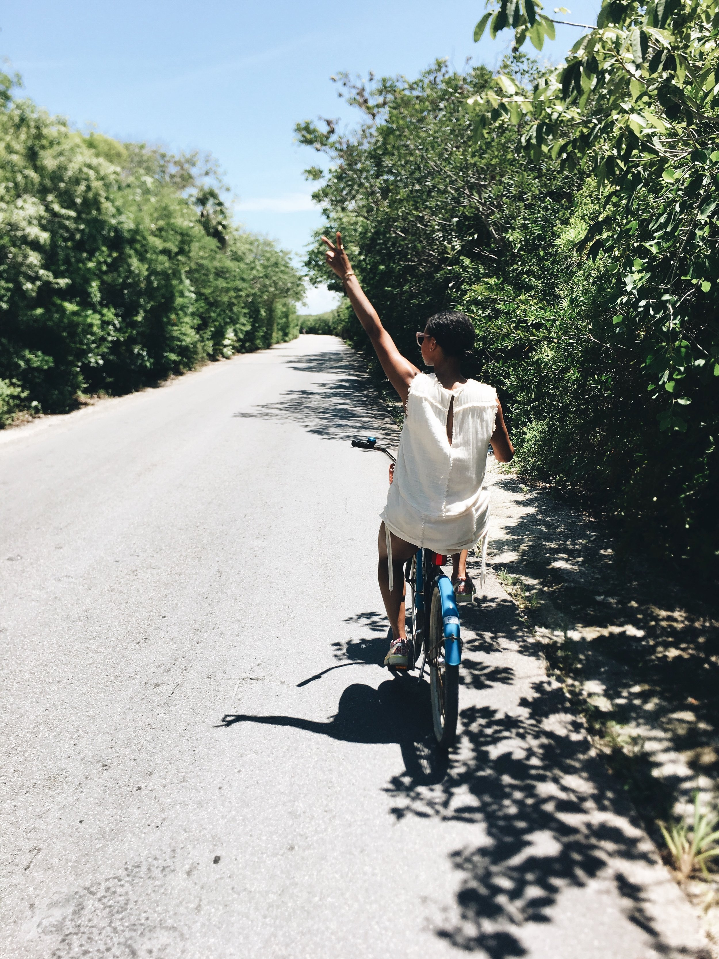 Biking from our hotel to the Mayan Ruins.