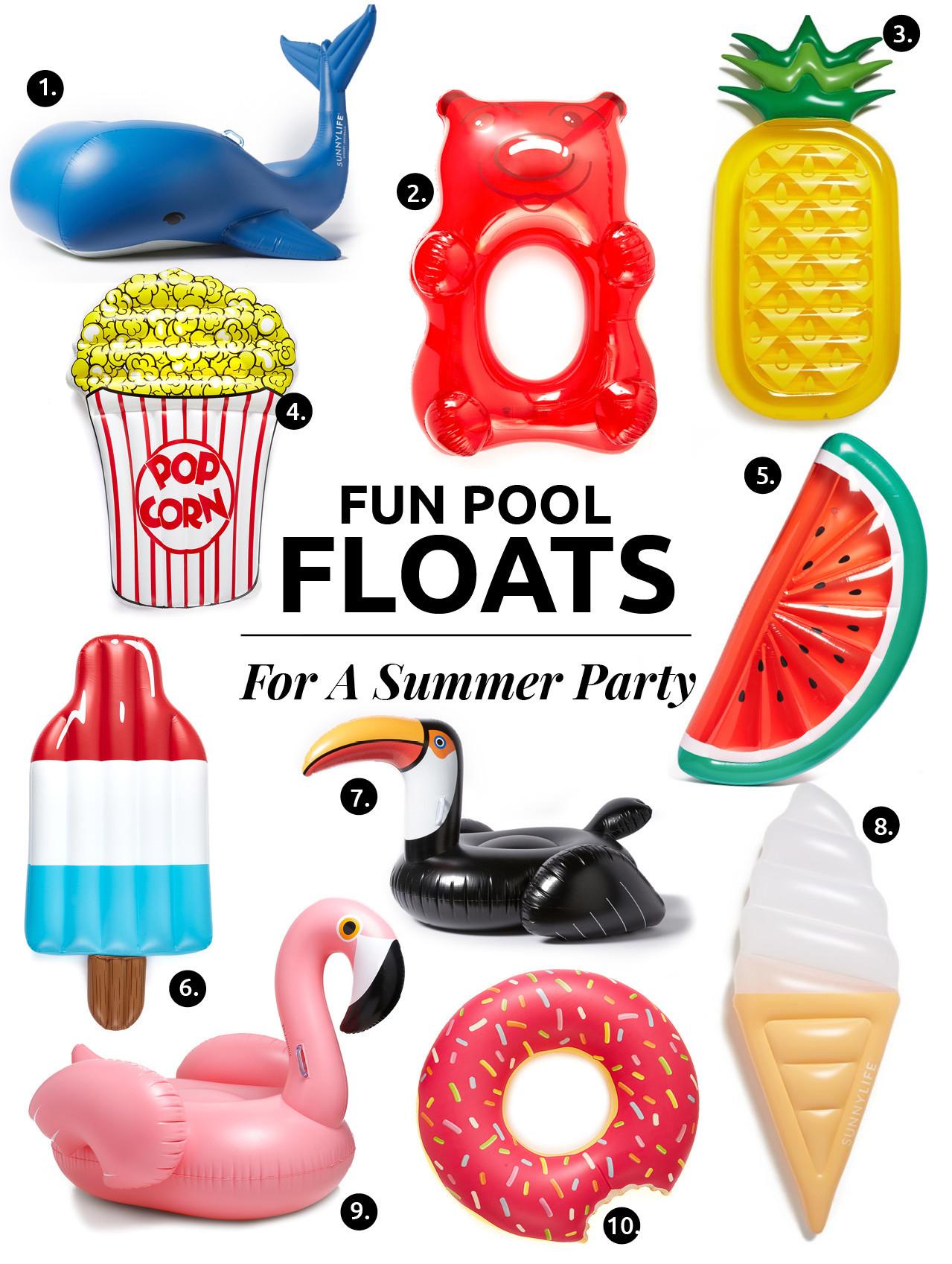 10 Divertidos Flotadores Para Una Fiesta De Verano // ¿Estás listo para el verano? Aquí está una lista de divertidos flotadores de piscinas para llevar a tu fiesta de verano con la familia y amigos.