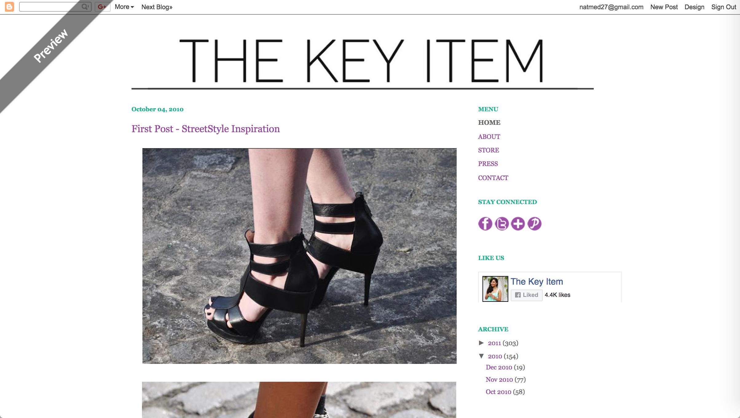 El primer diseño de The Key Item y su primer post
