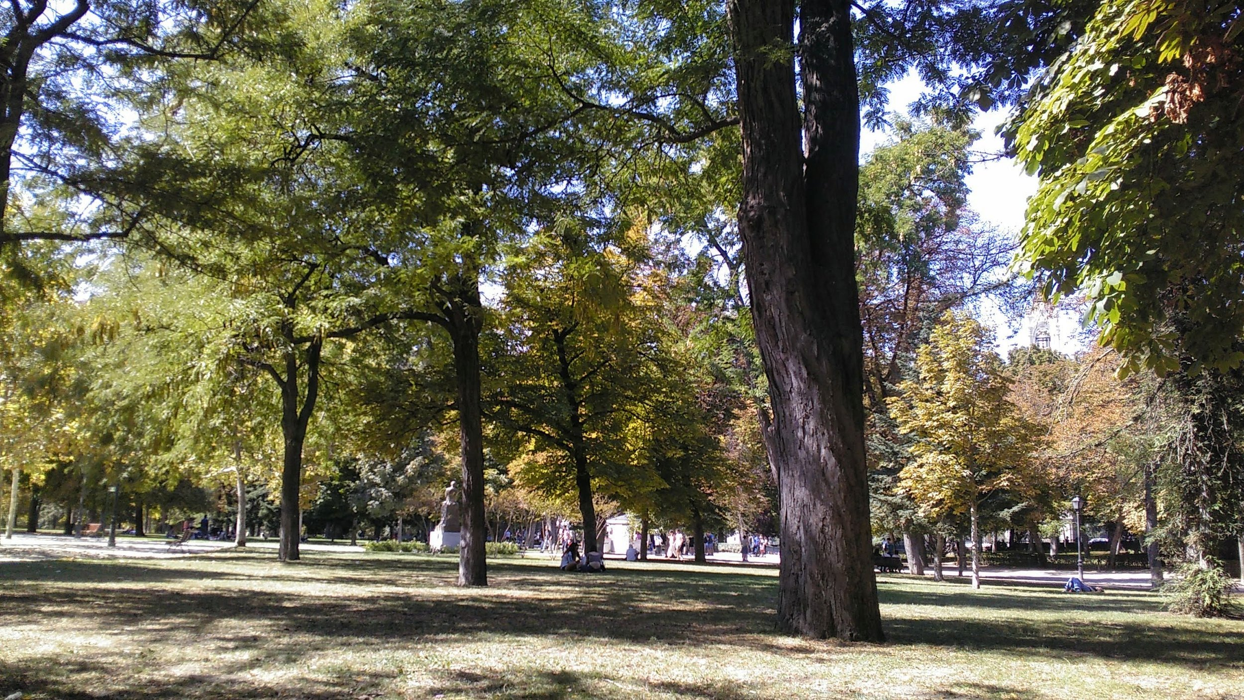 Shady area in El Retiro park where we set up our group picnic!