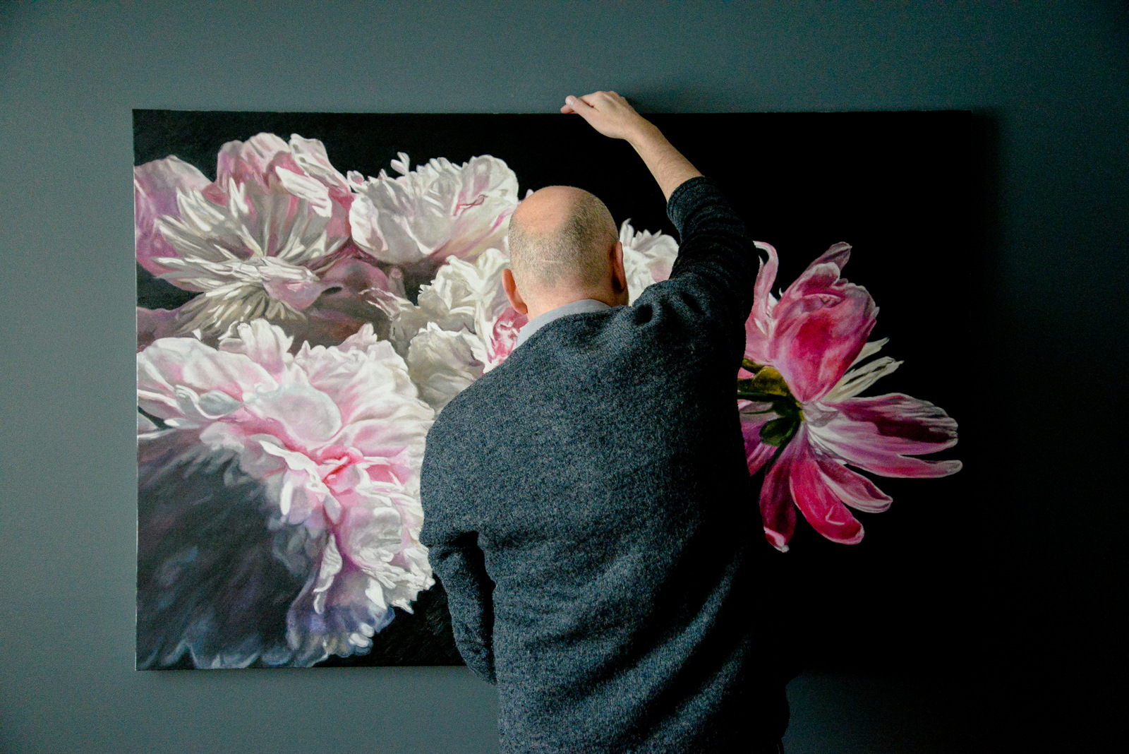 Robert Lemay and Peony painting