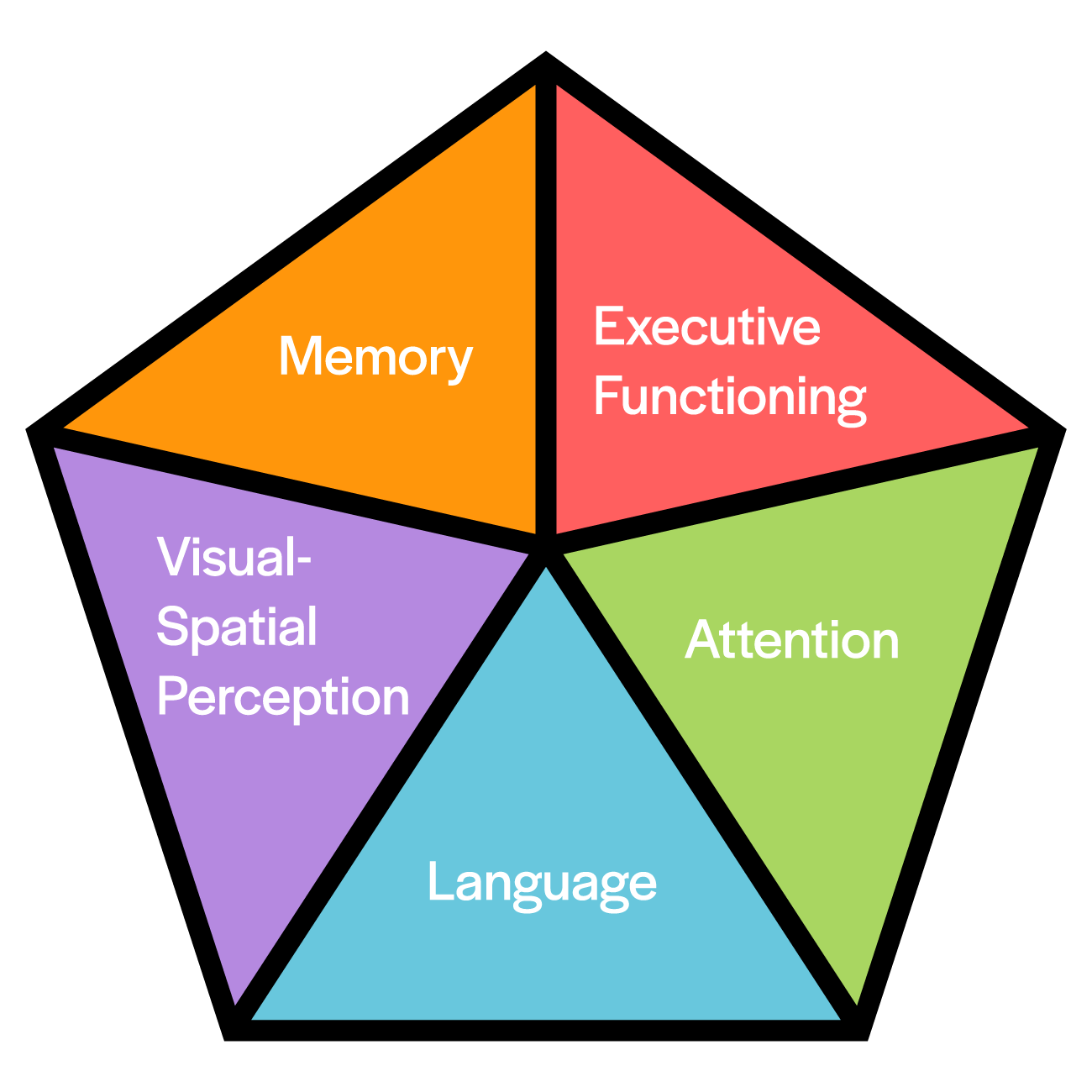Pentagon diagram listing the five cognitive domains: executive functioning, attention, language, visual-spacial perception, and memory.