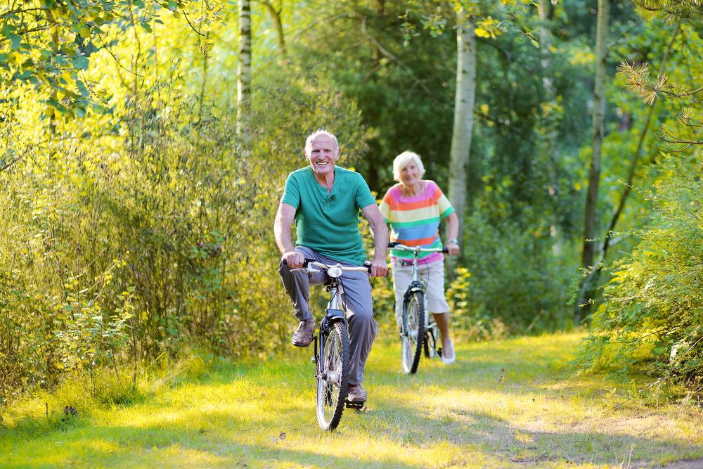 Seniors doing cycling