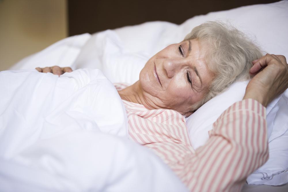 A senior Lady Is Sleeping