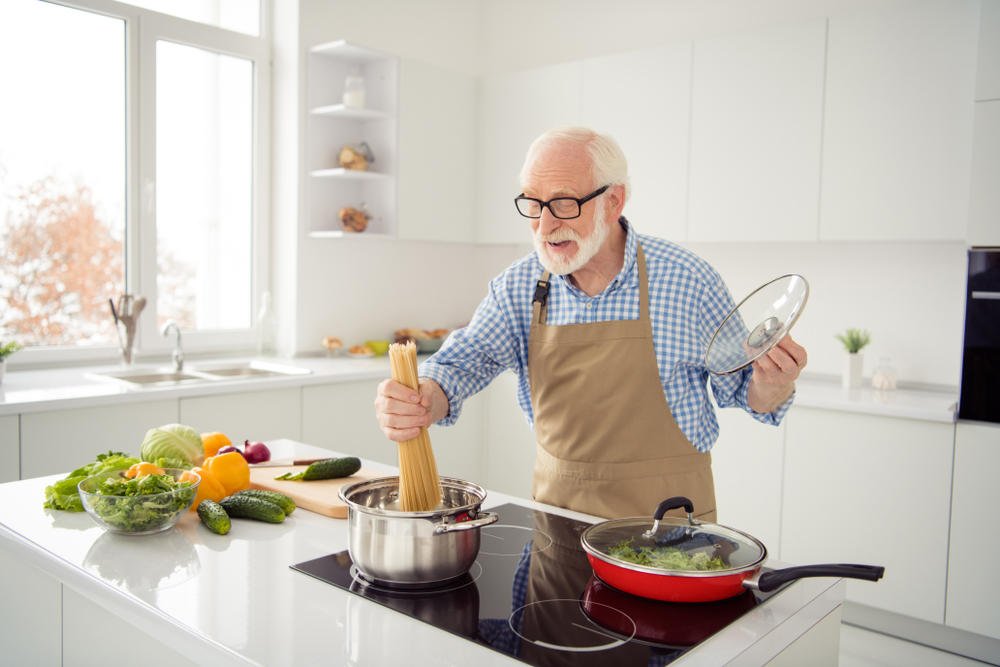senior man in kitchen