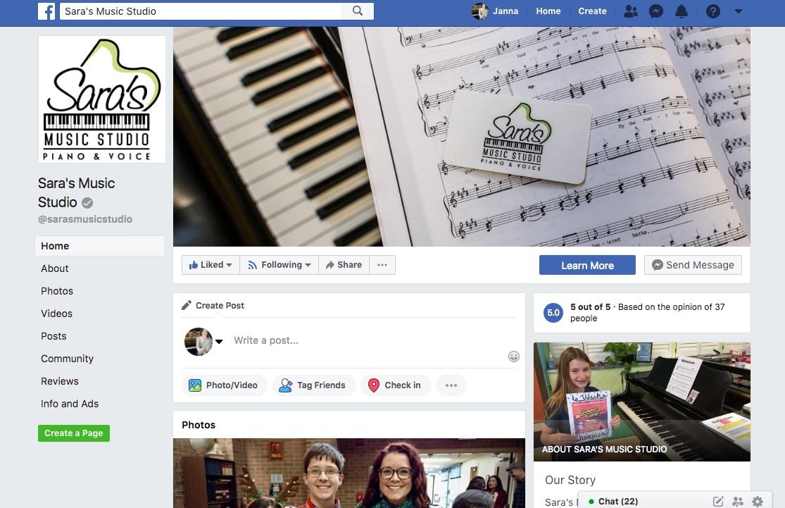 Sara's Music Studio on Facebook