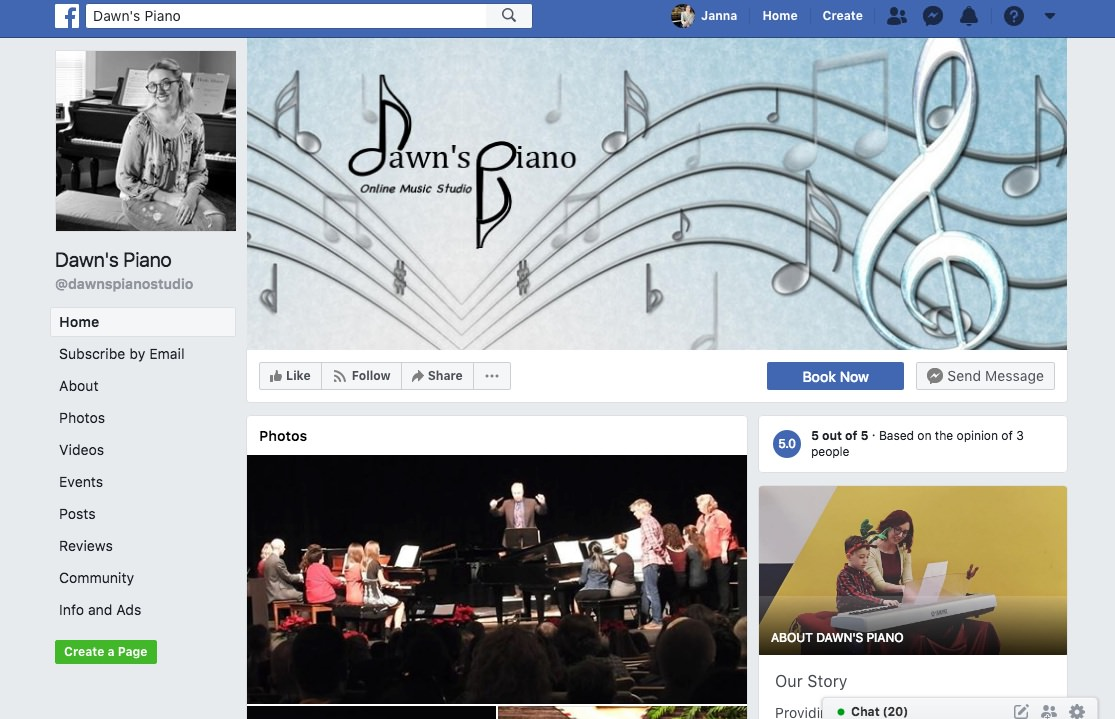 Dawn's Piano on Facebook