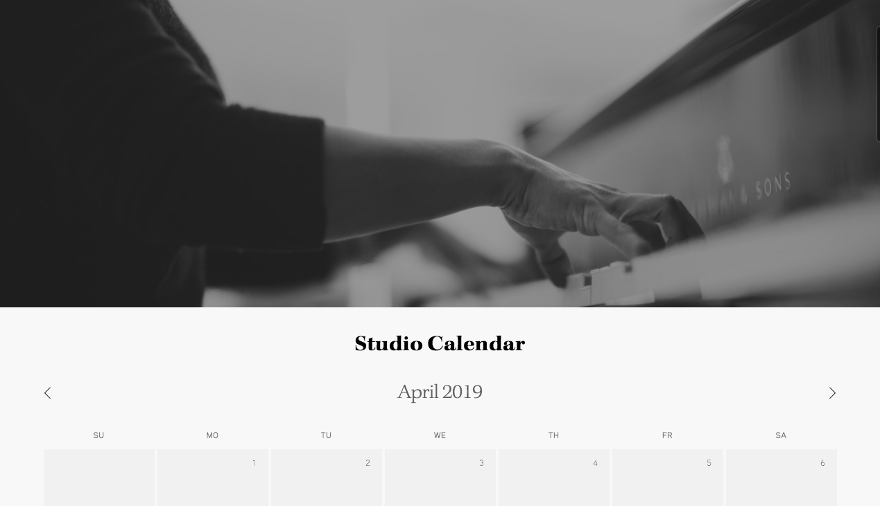 Kelly's studio calendar and details
