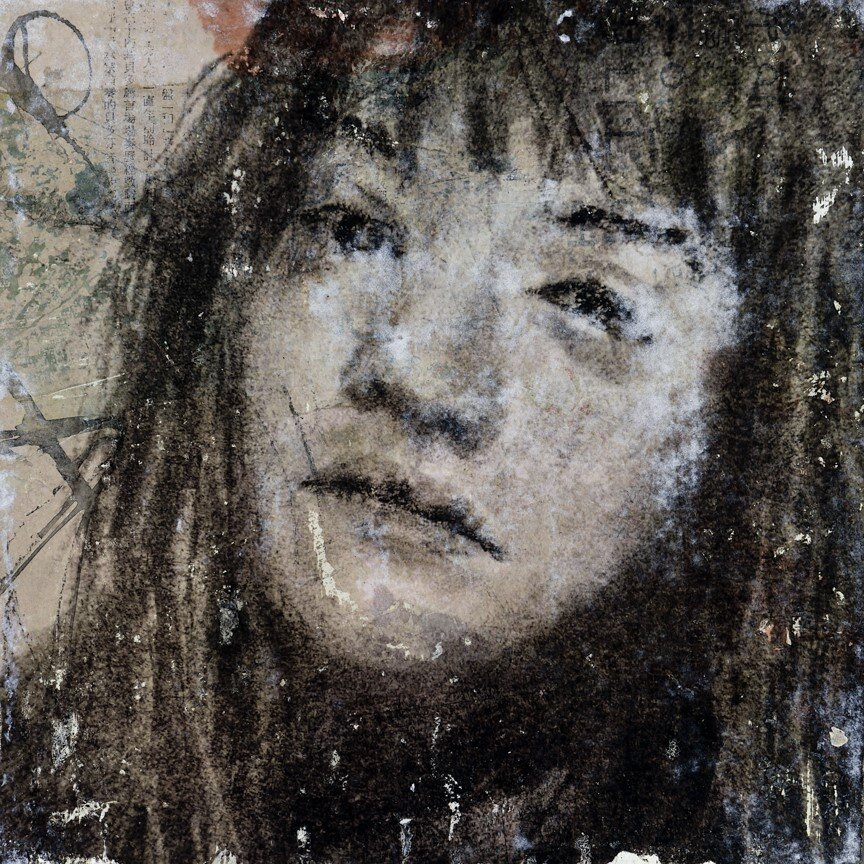 mixed media and photo transfer on cradled panel. Inspired by photo on Sktchy app. of Kelly Holt IG: @kllyholt