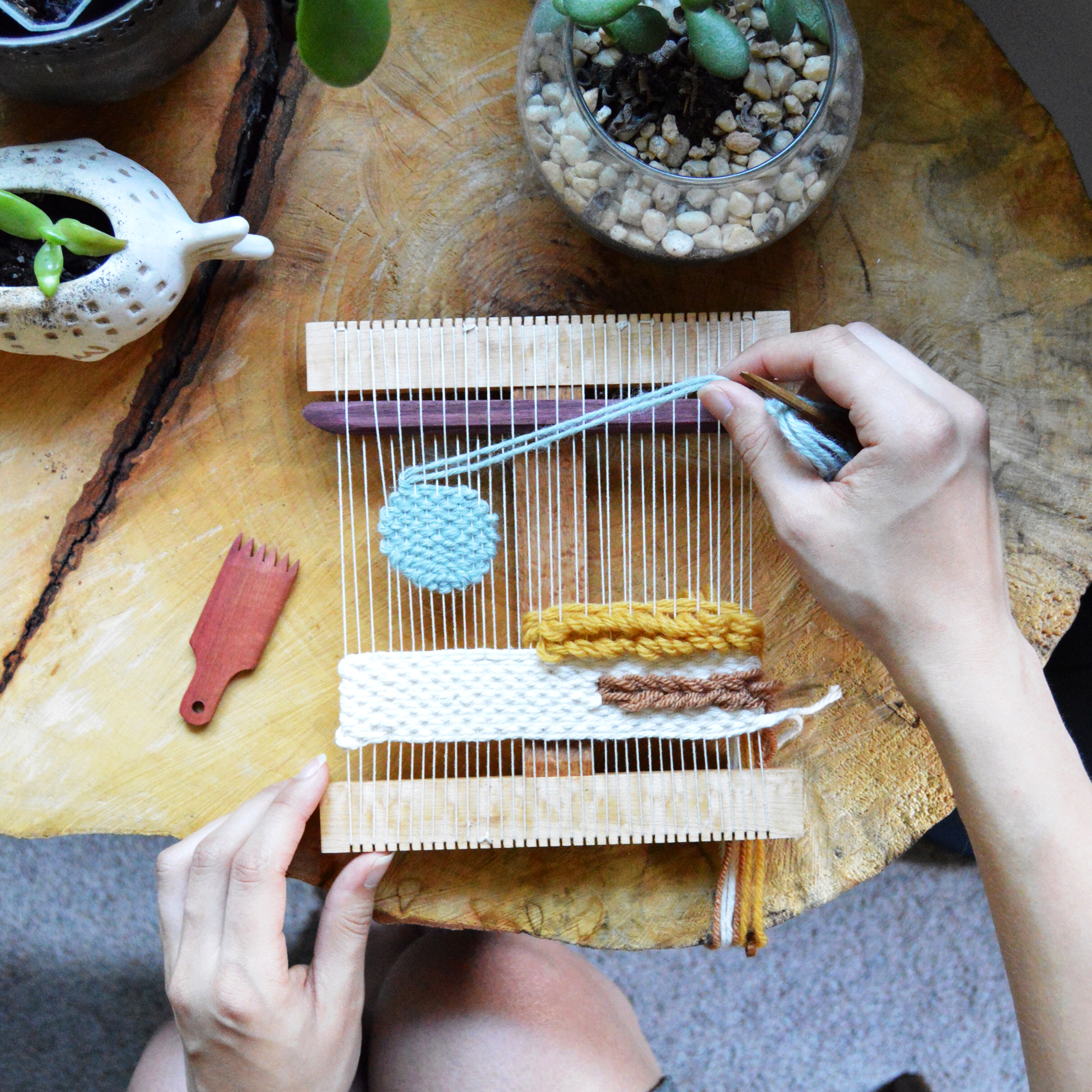 Let's make woven wall hangings with Melissa Jenkins. In this 3.5 hour workshop, you'll learn the basics of tapestry weaving from getting to know your weaving tools and planning your design to basic weaving and finishing techniques...