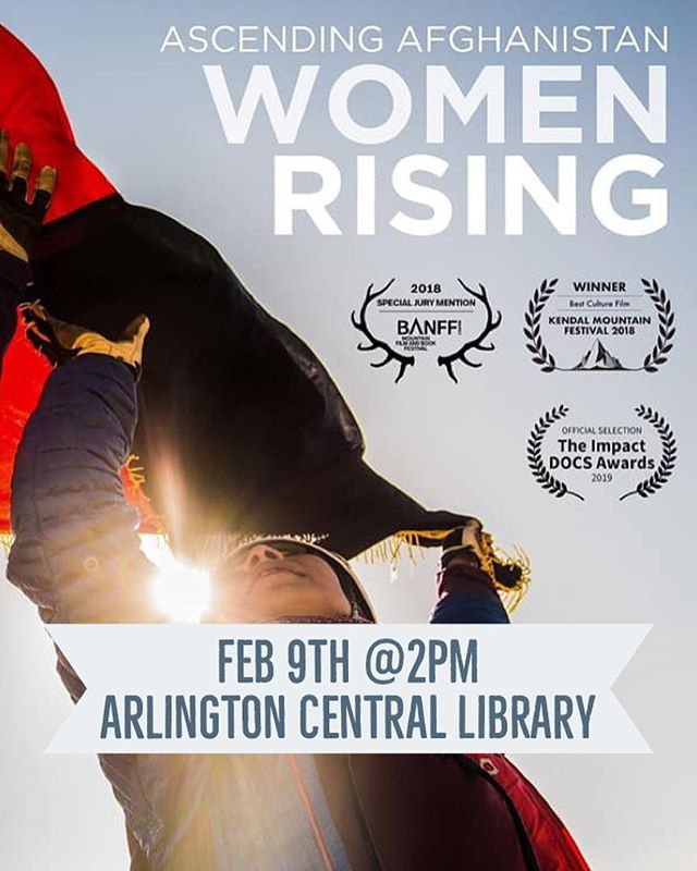 "Join us Feb 9 at as we screen the award winning VICE/HBO documentary, ""Ascending Afghanistan: Women Rising"" following the first female Afghan mountaineering team as they navigate their first expedition and fight for recognition as athletes. Afterwards, we'll be featuring a live talk back session with members of the team from Kabul and Marina LeGree, founder of @afghan_ascend, the non-profit that made their feat possible. #outdoormuslims #washingtondc #girlsarealsostrong"