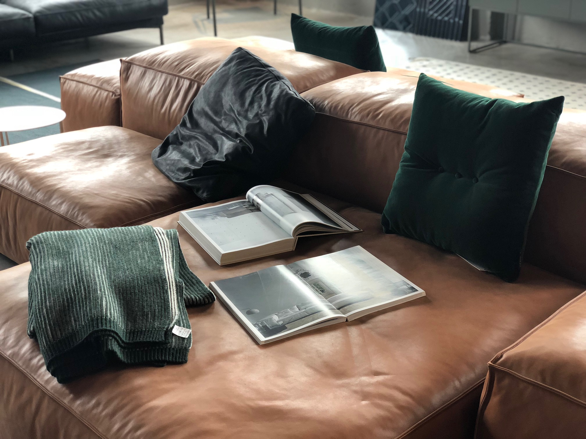 anders co leather couch green velvet cushions
