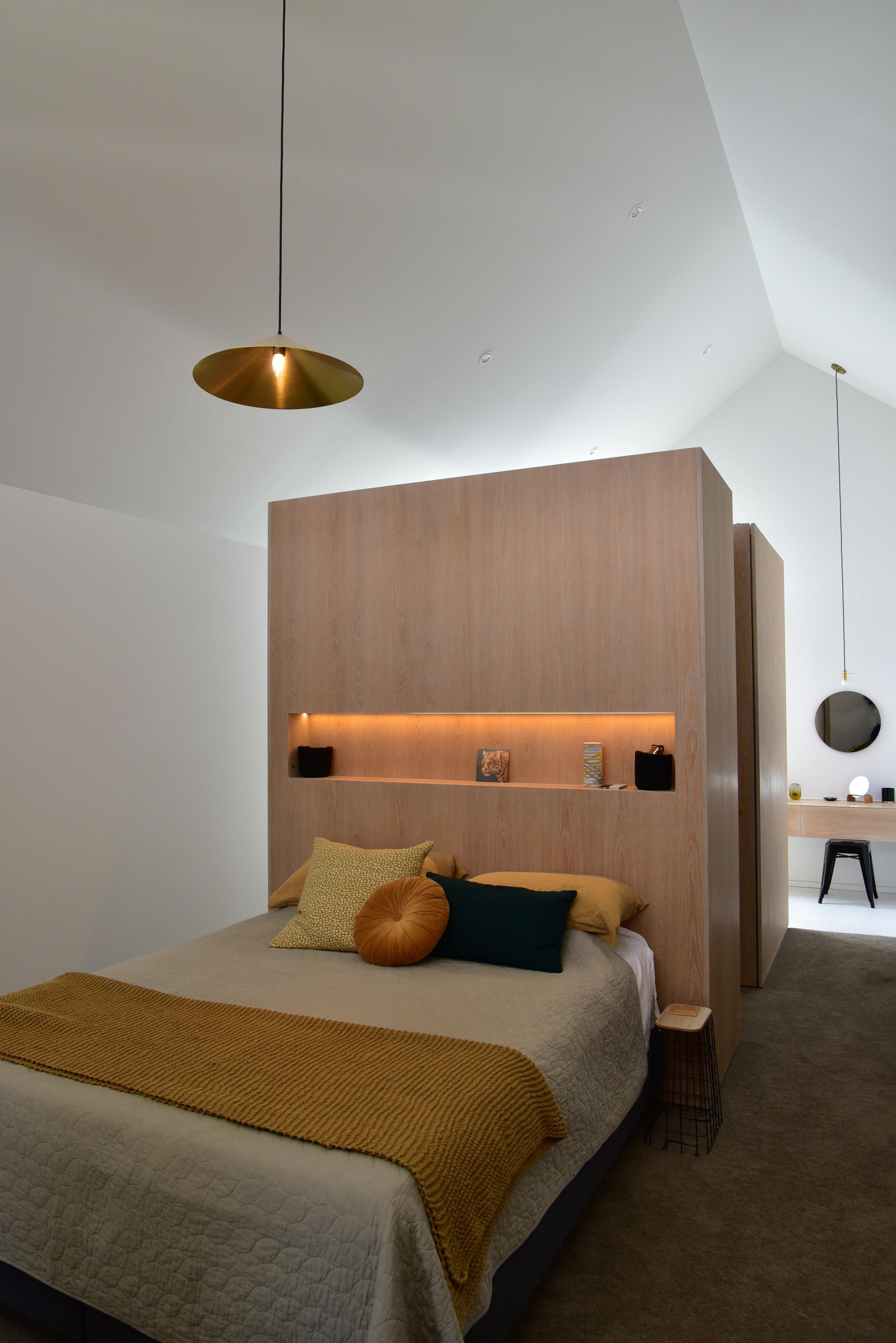 Atelier Aitken Omaha Home Art Gallery Master Bedroom Oak Yellow blue velvet.JPG