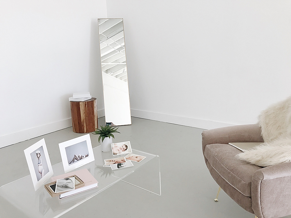 print samples on modern clear coffee table