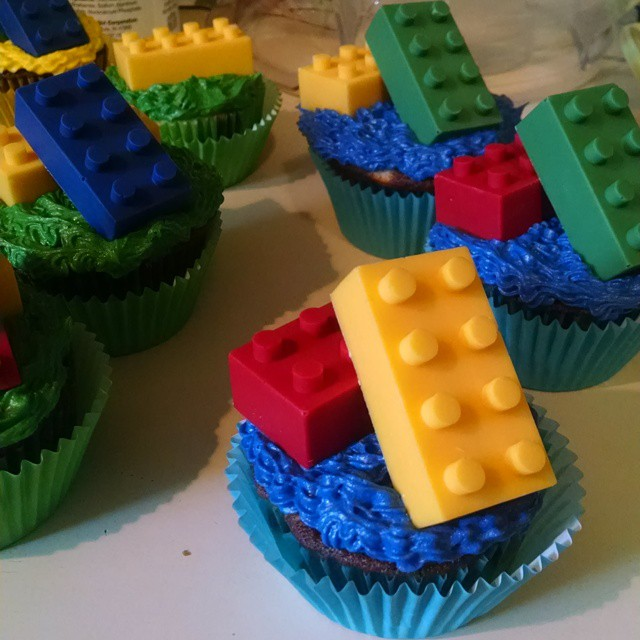 Custom chocolate cupcakes, chocolate building blocks, M&M filled
