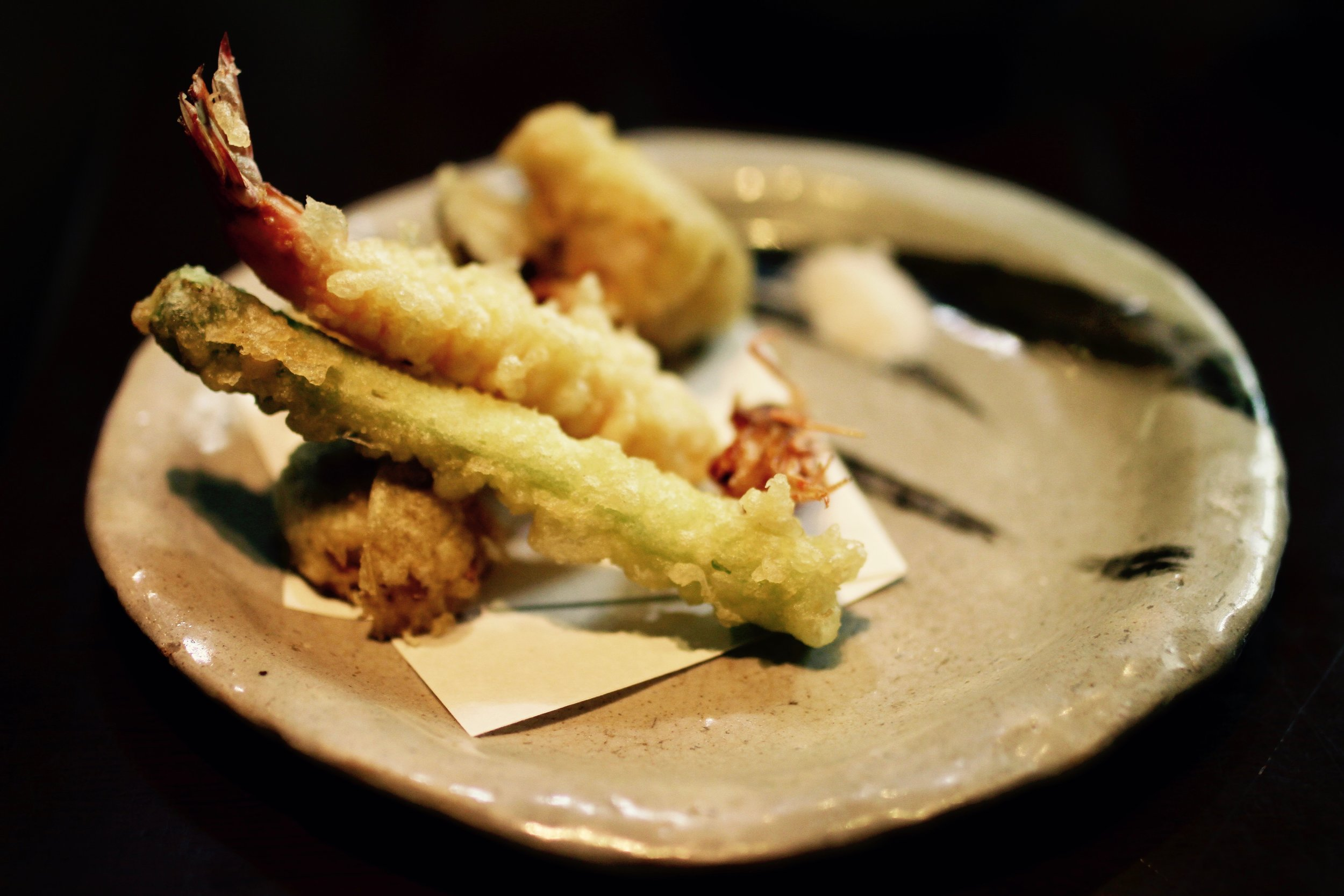 Exquisitely prepared, dry tempura and salt.