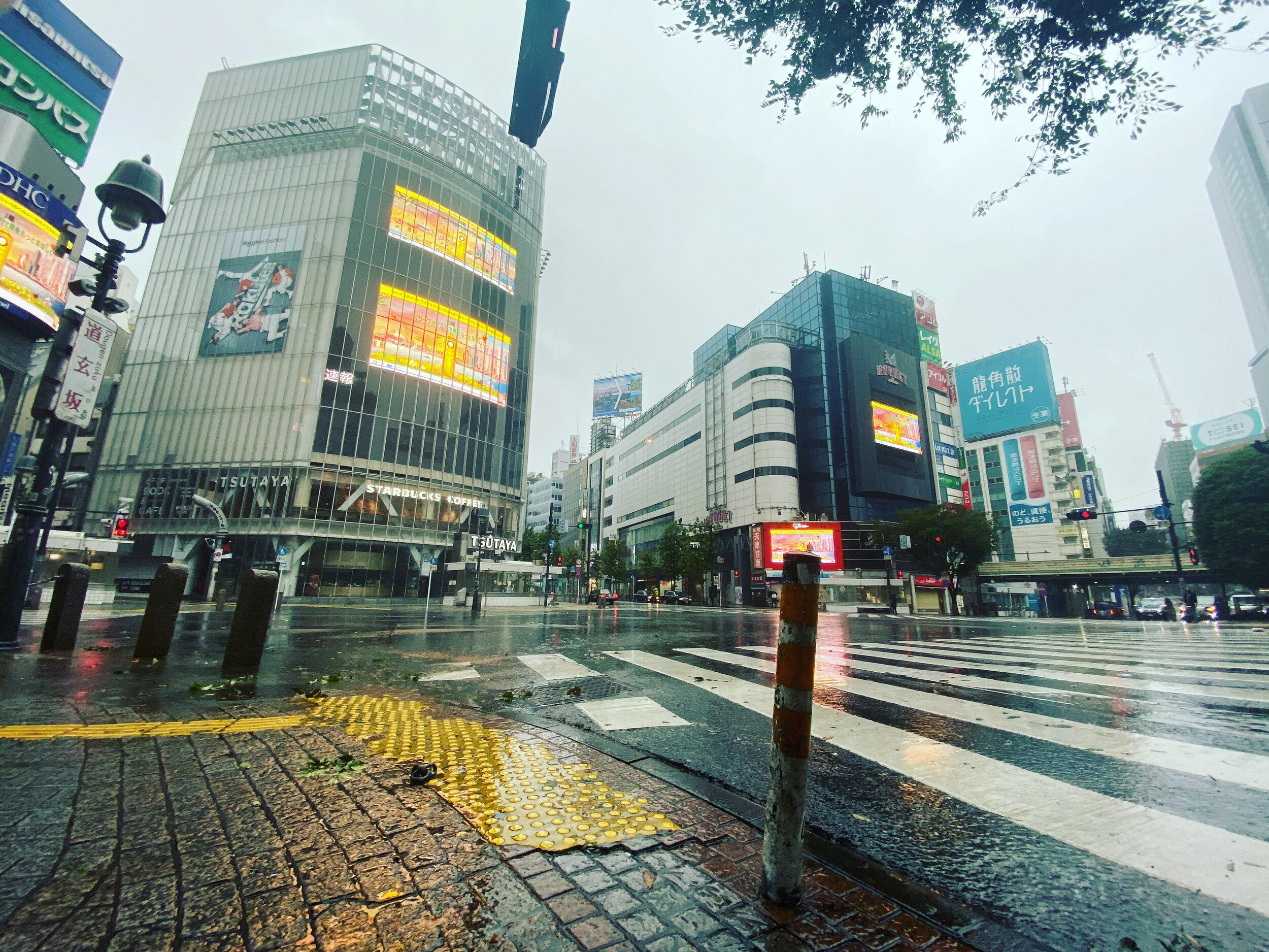 Empty Streets during Tokyo Typhoon Hagibis