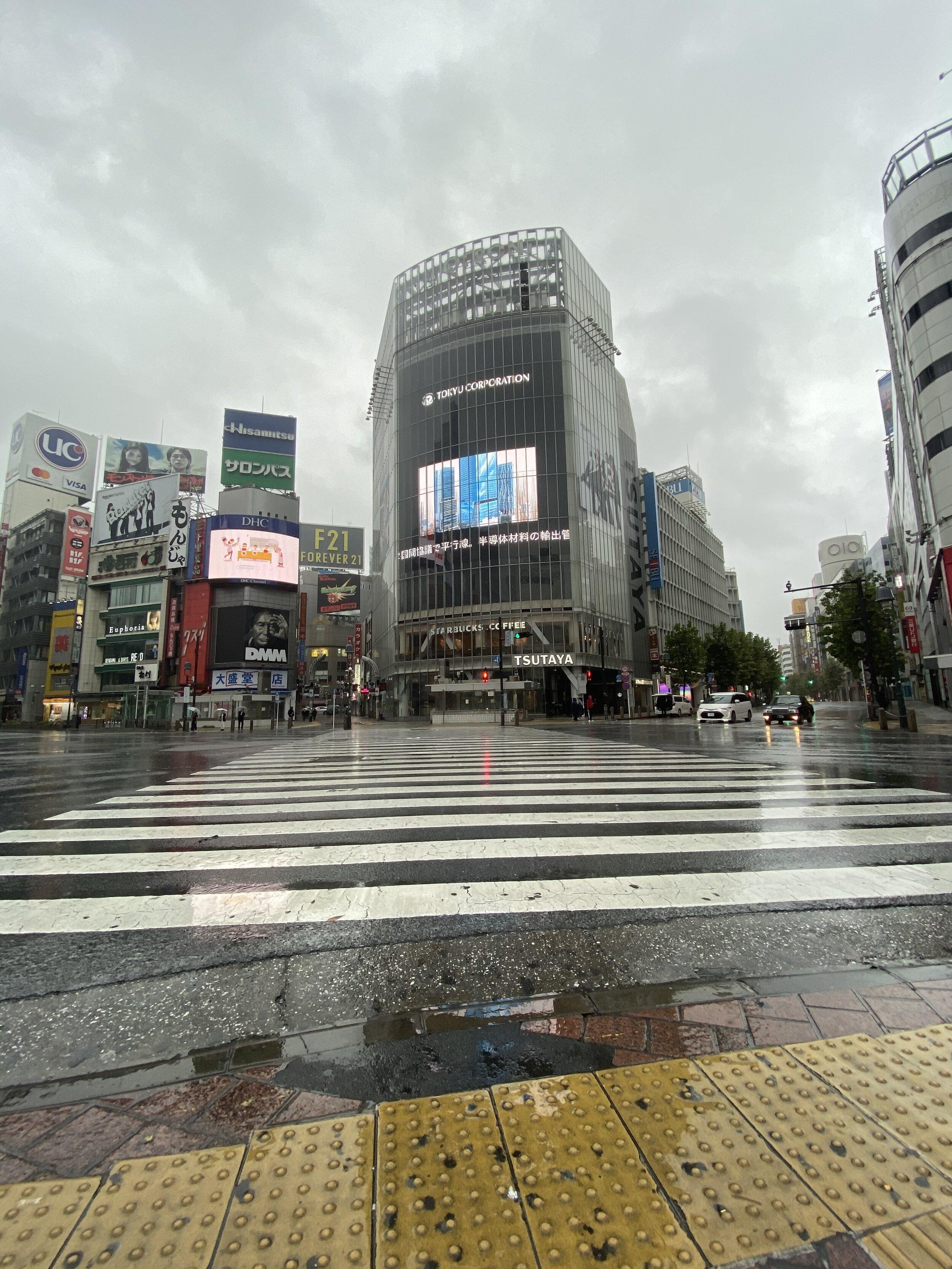 Empty Shibuya Crossing During Typhoon
