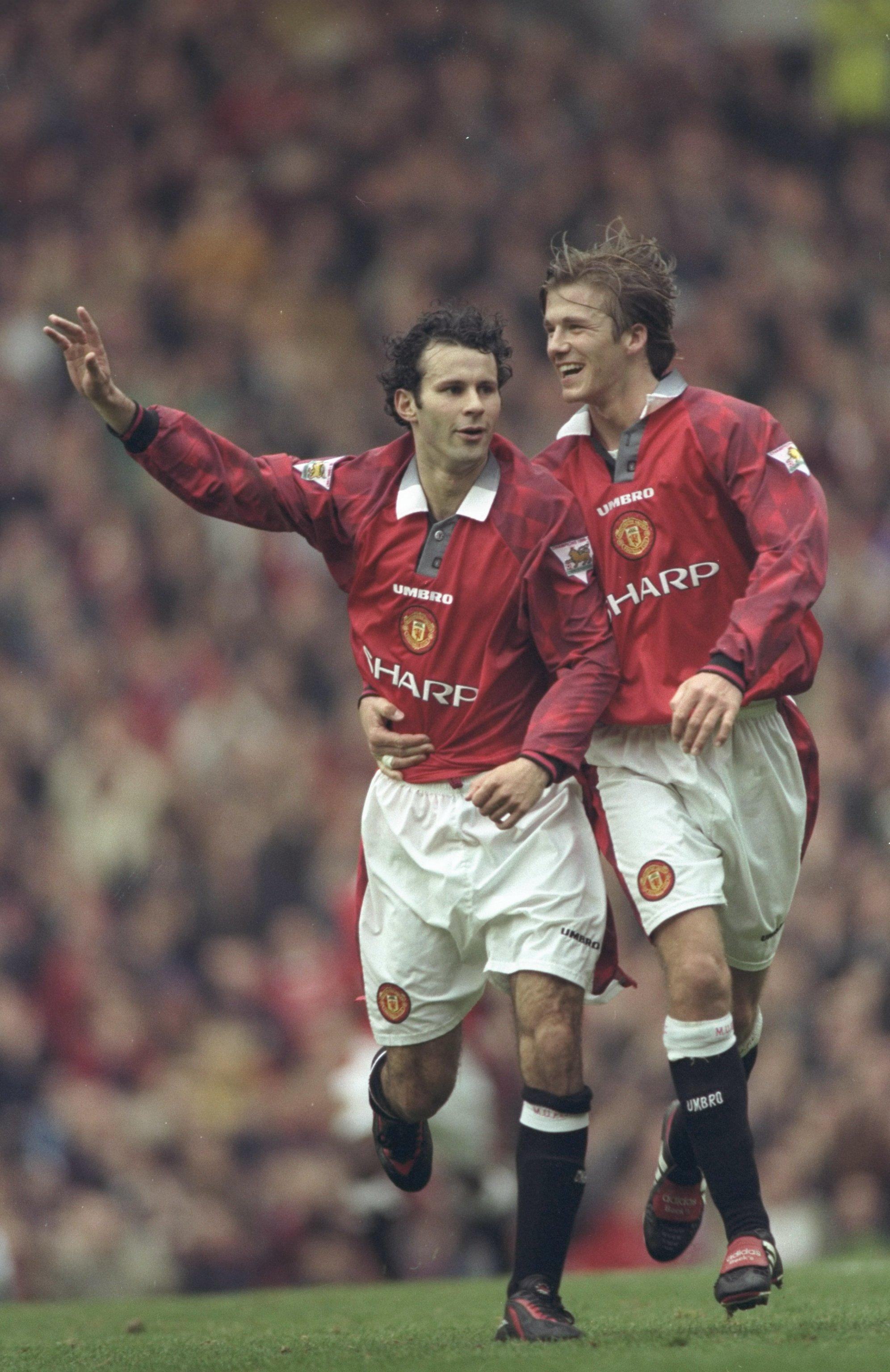 Manchester United's Ryan Giggs (left) and David Beckham (right), 1997-98. (Allsport UK /Allsport)