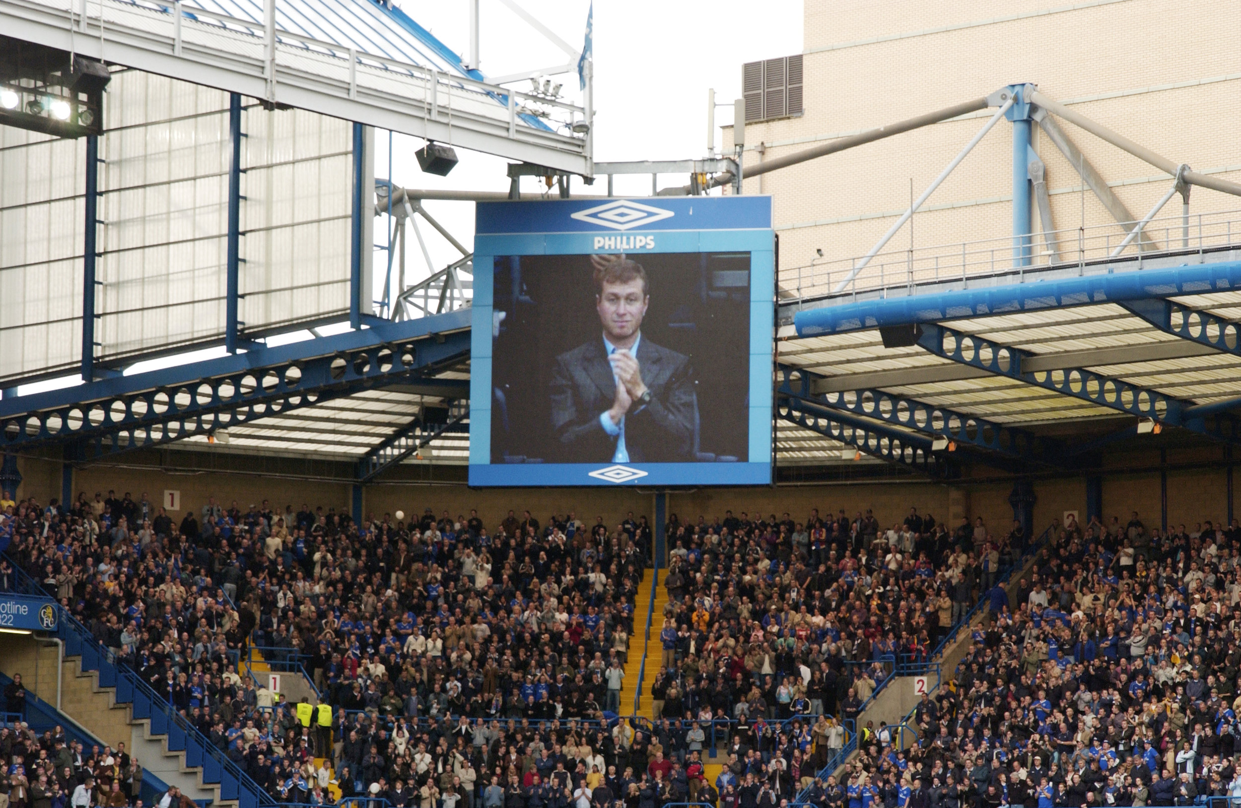 Chelsea owner Roman Abramovich at Stamford Bridge, 2003. (John Ingledew/Chelsea FC via Getty Images)