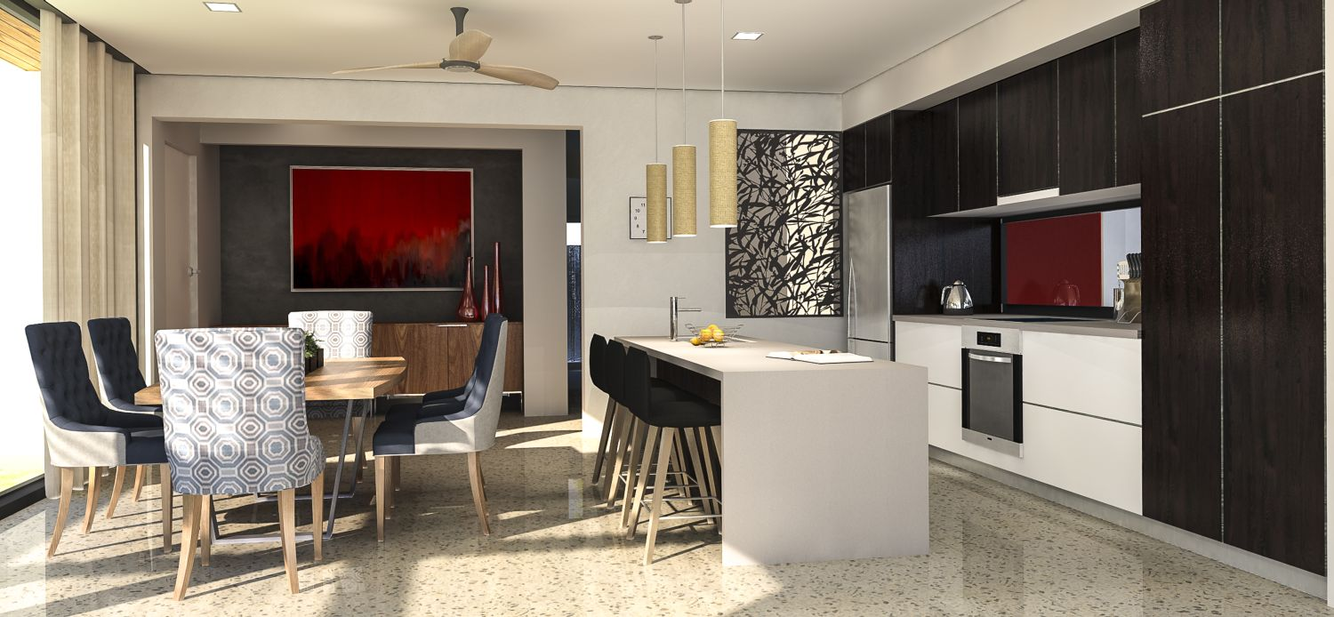 Kitchen area with polished concrete floors
