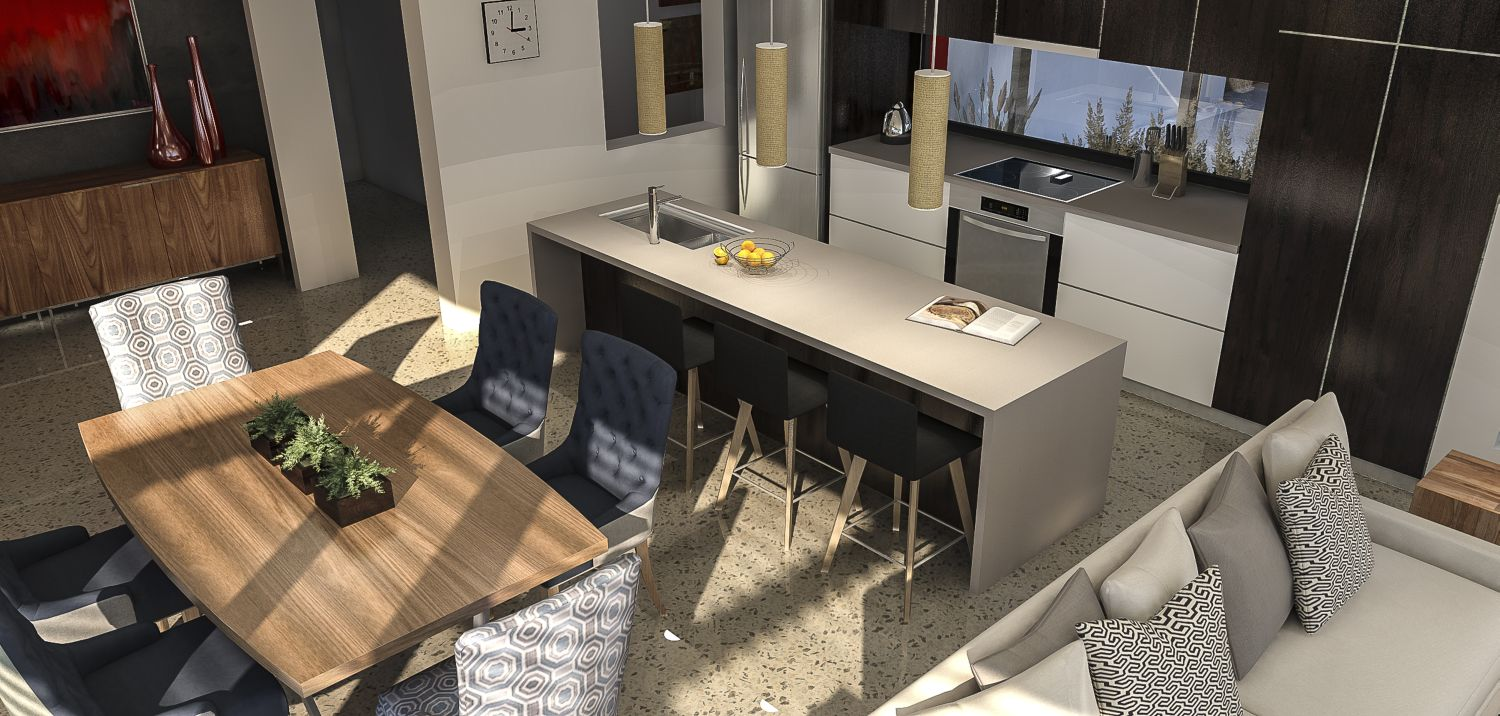 Kitchen dining view with Caesarstone bench