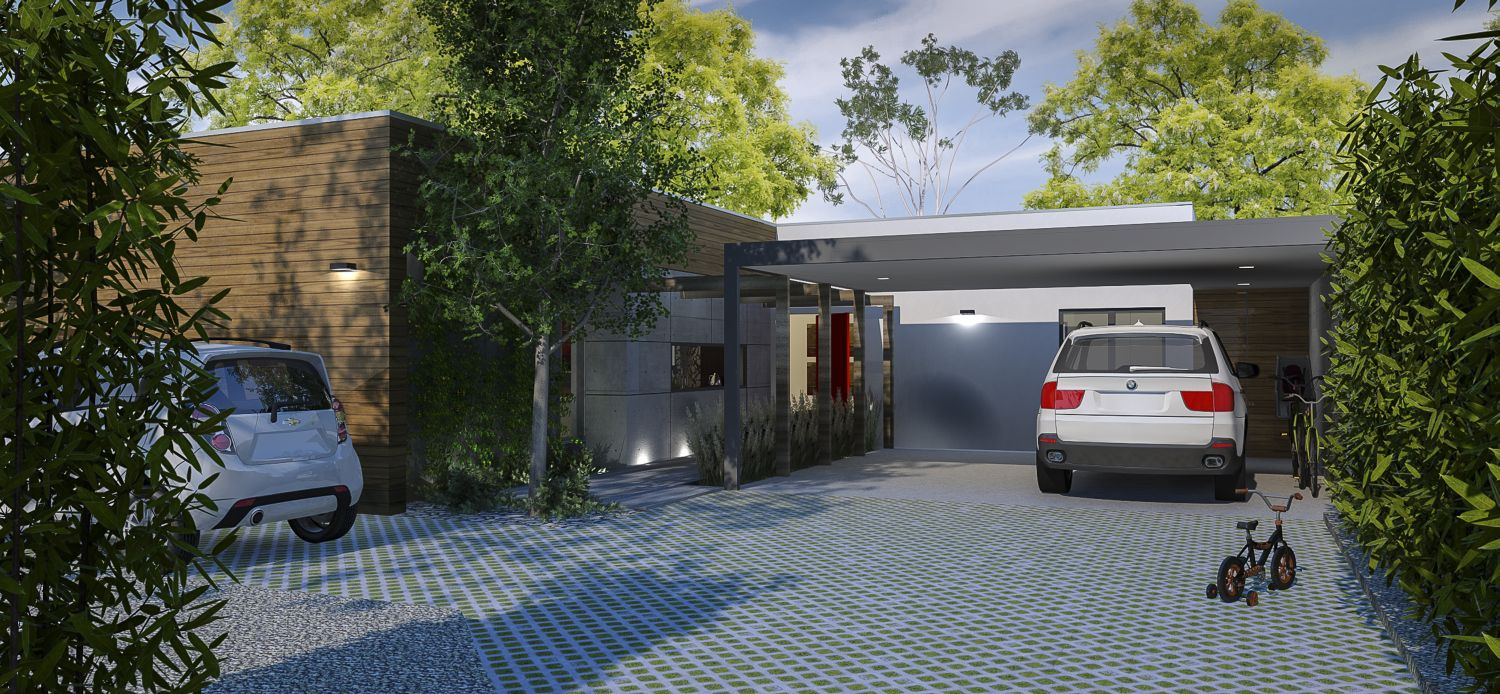 Entry elevation with permeable paving