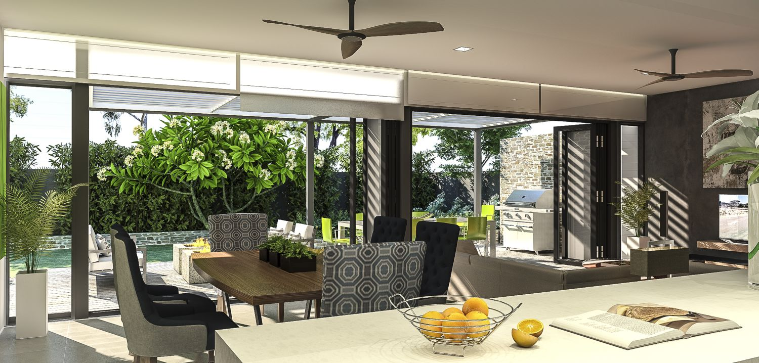 Living pavilion with Haiku fans and Breezway louvres