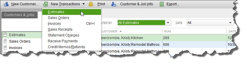 If you haven't explored QuickBooks'    Customer Center   , you should. You can do a lot of your sales work directly from there, like creating estimates.
