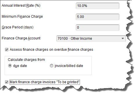 You'll need to decide on your QuickBooks    Finance Charge    settings before you can begin to apply these late fees.