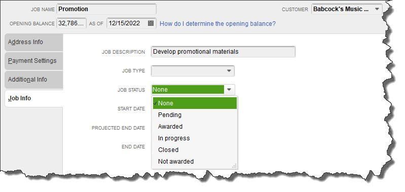 You can track your    Jobs    by keeping their status current in the    New Job    window.