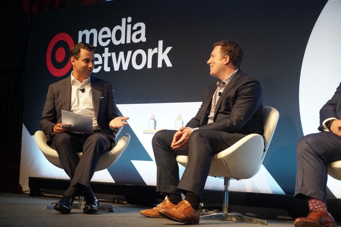 """Twitter's Matt Derella (left) and Buzzfeed's Ben Smith (right) sit down at Playstation Theater during Thursday's """"When Content, Consumers, and Consumption Collide"""" panel discussion"""