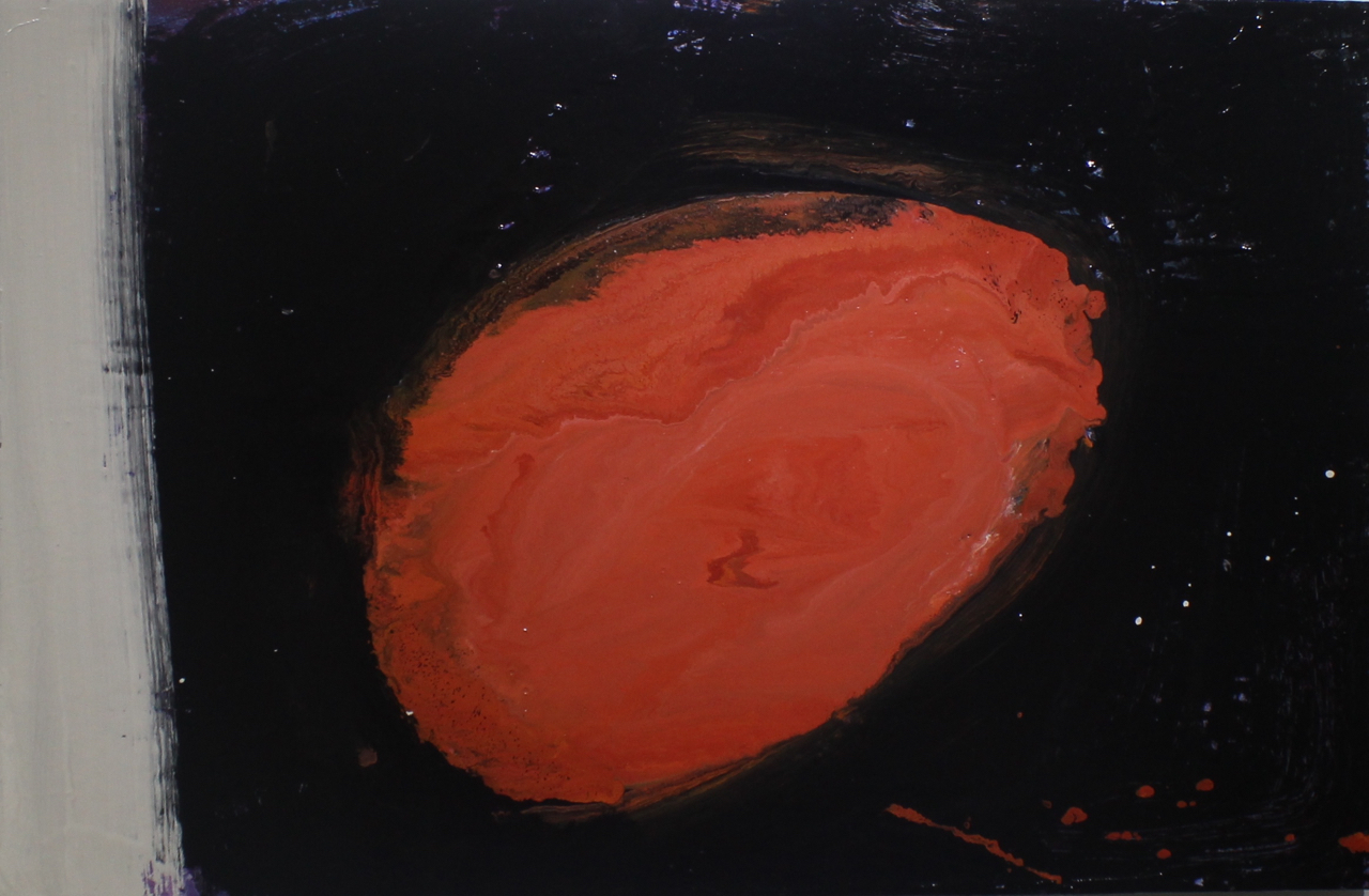 Something red II, 2014, enamel paint on canvas, 91 x 61 cm